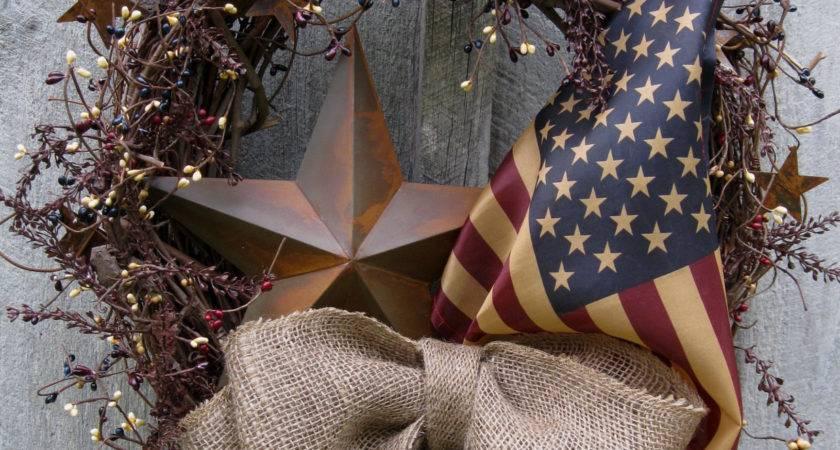 Americana Rustic Star Old Glory Patriotic Wreath Tea