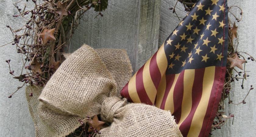 Americana Wreath Patriotic Primitive Door Decor