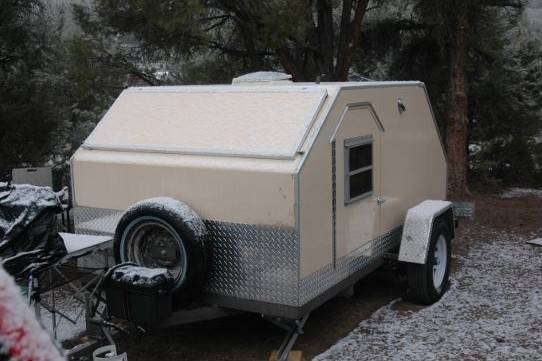 Angular Teardrop Camper Includes Improvised Galley