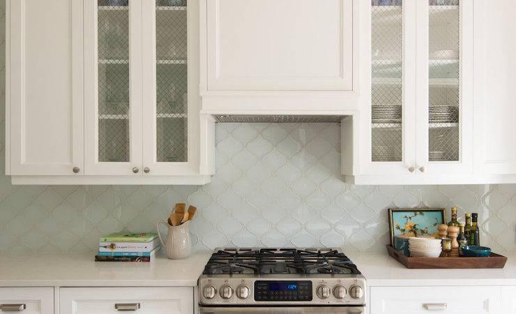 Aqua Arabesque Tiles Transitional Kitchen Decor Happy
