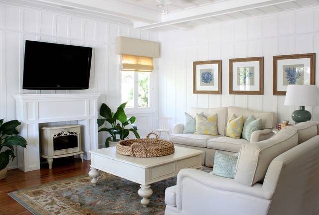 Beach Cottage Traditional Living Room Orange County