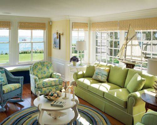 Beach Style Green Living Room Design Ideas Renovations