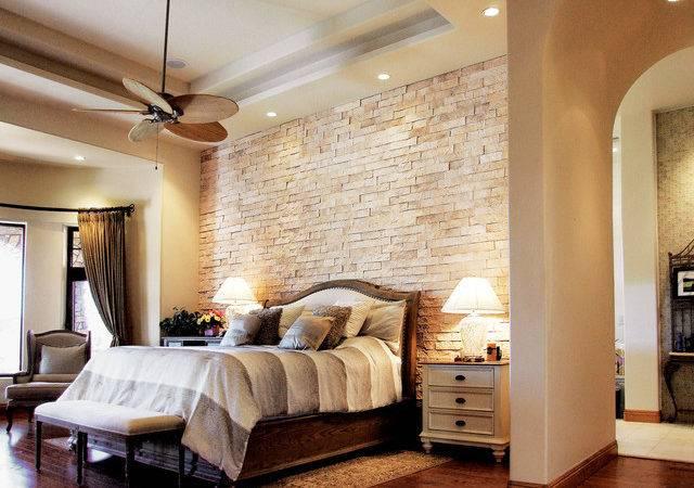Beautiful Bedroom Split Limestone Veneer Accent Wall