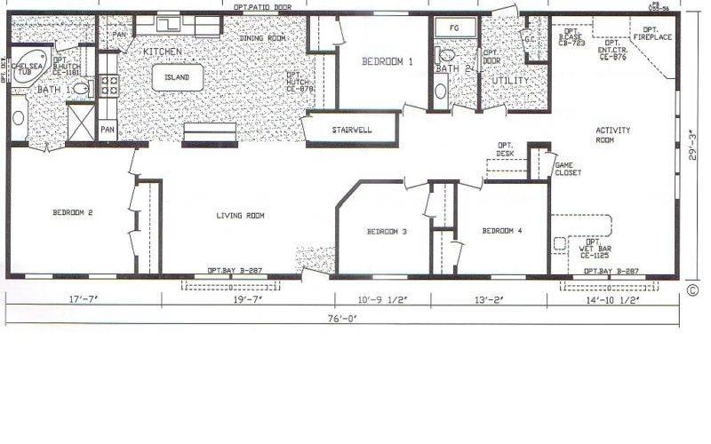 Bedroom Bath Mobile Home Also Double Wide Floor Plans