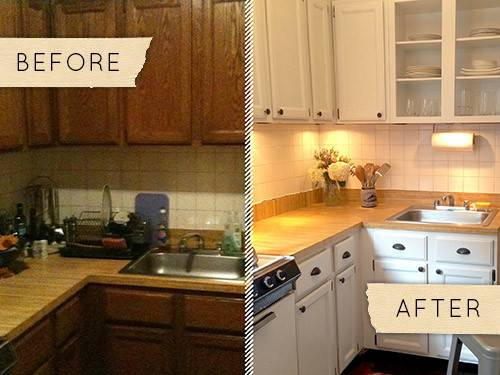 Before After Drab Kitchen Gets One Day Makeover