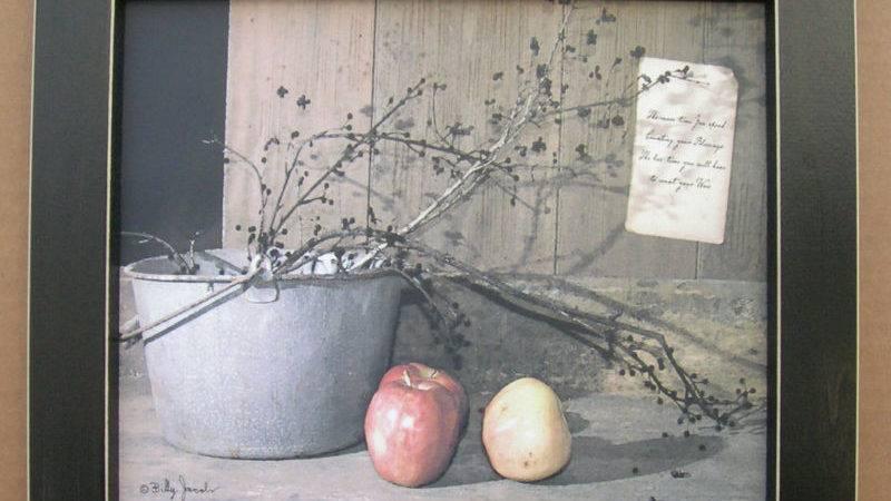 Billy Jacobs Apples Primitive Framed Country Ebay