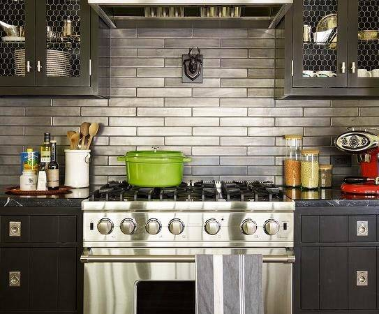 Black Cabinets Stainless Steel Backsplash