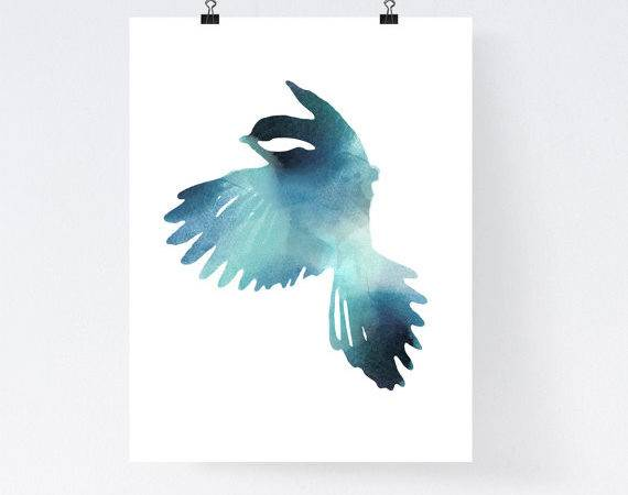 Blue Bird Art Print Watercolor Home Wall Decor Apartment