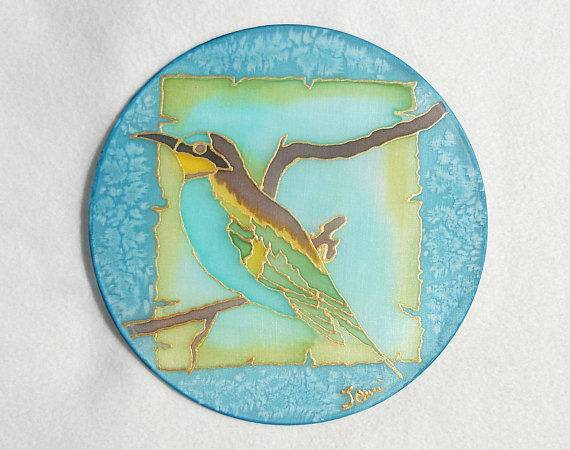 Blue Bird Hand Painted Silk Suncatcher Home Decor Emanza