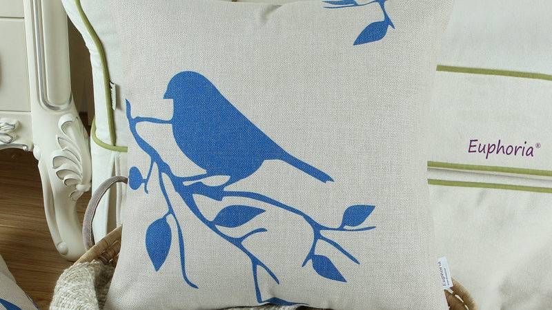 Blue Bird Home Decor Cushion Cover