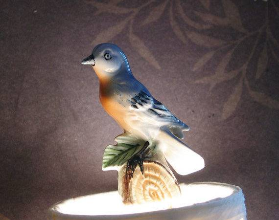 Blue Bird Lighting Finial Lamp Home Decor Handmade