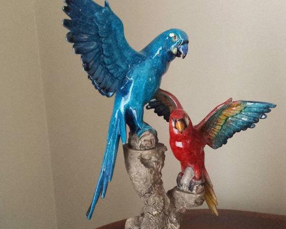 Blue Red Bird Ornament Home Decor Ebay