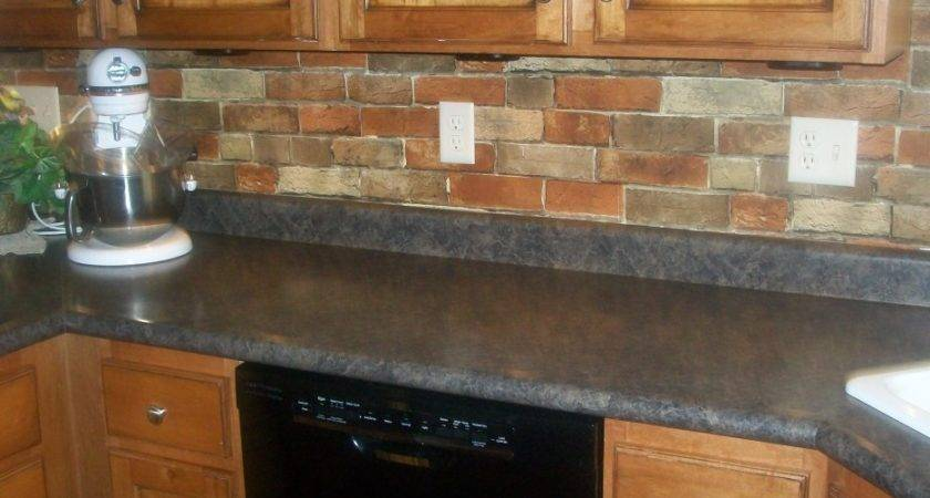 Brown Gray Brick Wall Connected Varnished