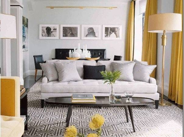 Contemporary Vintage Living Room Grey Yellow Just