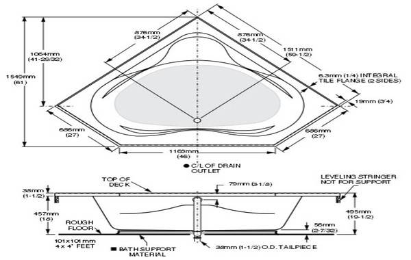Corner Bathtub Standard Home Design Plan