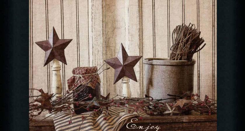 Enjoy Simple Things Primitive Tin Star Sign Framed Art