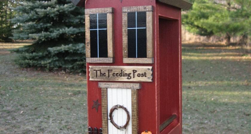 Folk Art Primitive Saltbox Vintage Barn Red Hanger House Bird
