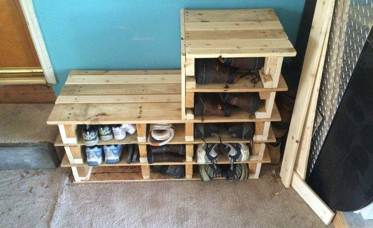 Garage Shoe Rack Bench Made Out Wood Pallets Done