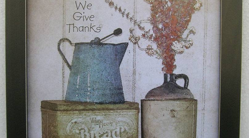 Give Thanks Primitive Prints Framed Country