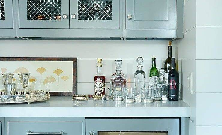 Gray Bar Cabinets Shiplap Backsplash Transitional