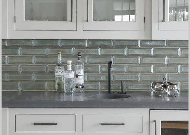 Gray Chicken Wire Butler Pantry Cabinets Transitional