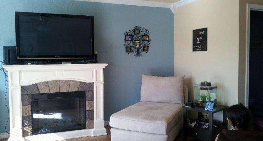 Grey Living Room Blue Accent Wall