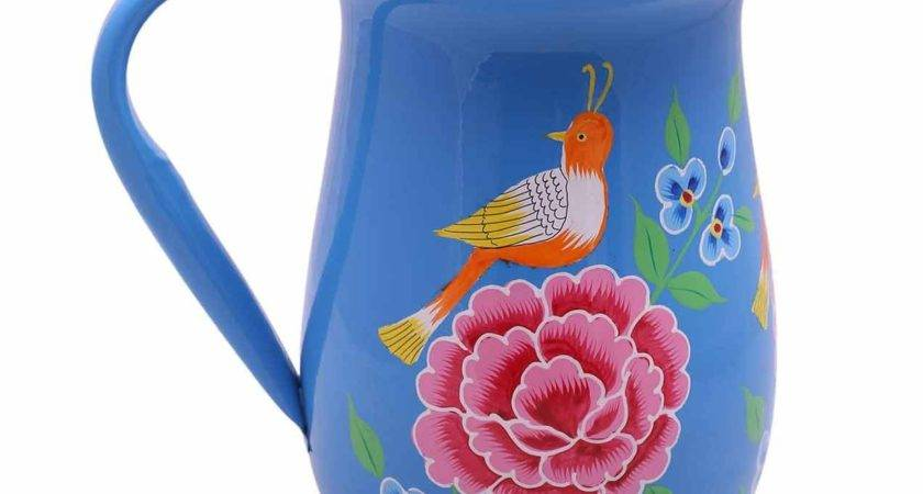 Handpainted Blue Bird Jug Dining Home Decor
