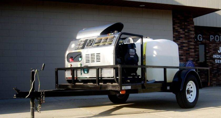 Hot Water Trailer Mounted Pressure Washer Mobile Cleaning