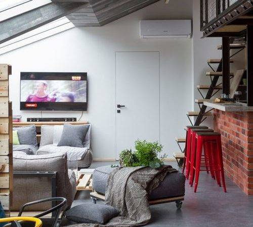 Houzz Industrial Living Room Linoleum Floors Design