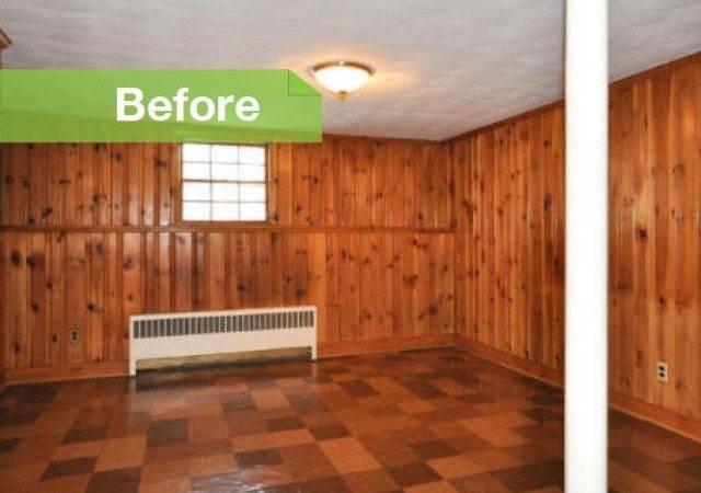 Knotty Nice Painted Wood Paneling Lightens Room Look