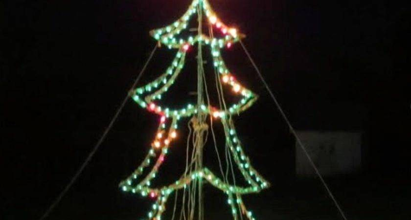 Large Outdoor Lit Wire Frame Christmas Tree Ebth