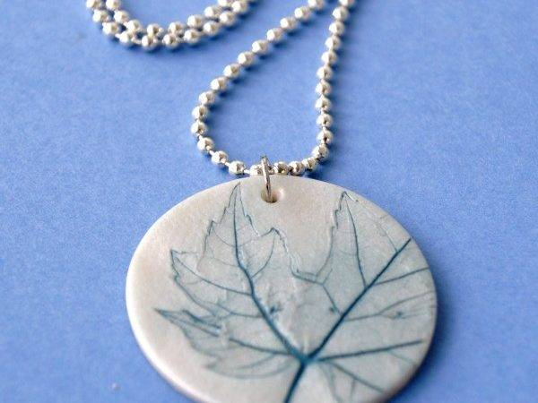 Leaf Imprinted Clay Necklace Happy Hour Projects