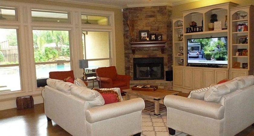 Living Room Design Corner Fireplace