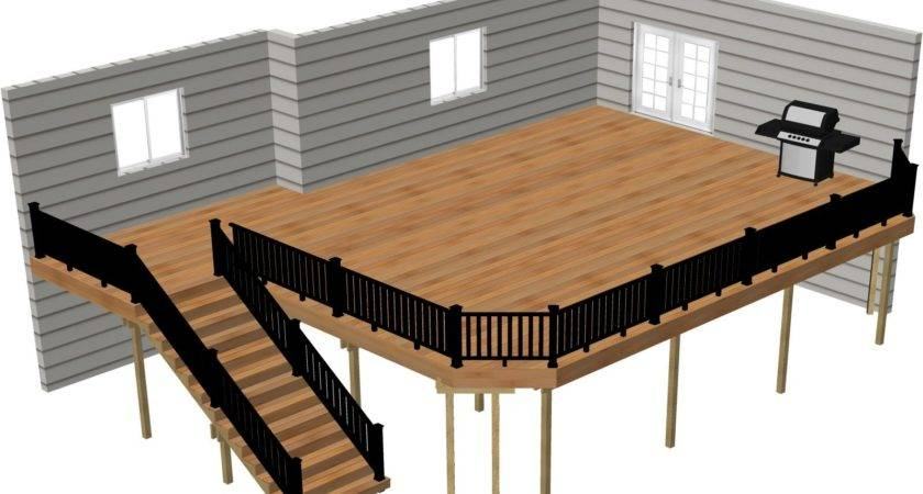 Lovely Deck Plans Ground Level Design Plan