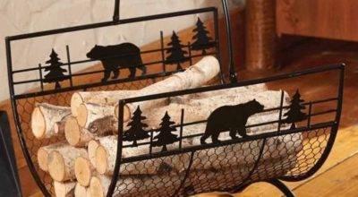 Metal Bears Firewood Carrier Log Rustic Country
