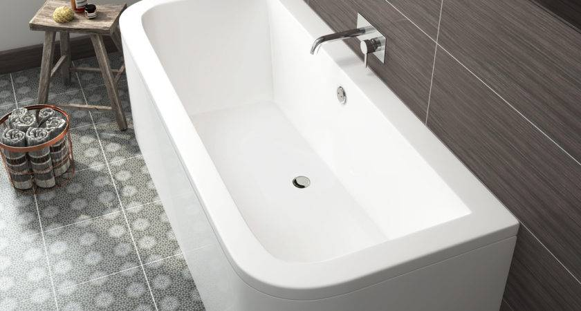 Modern Bathroom Bath Double Ended Shape Back Wall