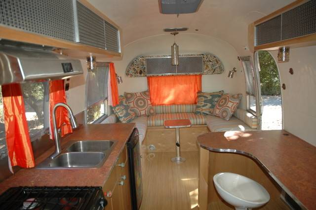 Modern Kitchen Galley Inside Vintage Airstream
