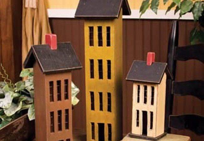 Multi Colored Saltbox Houses Set Wood Large