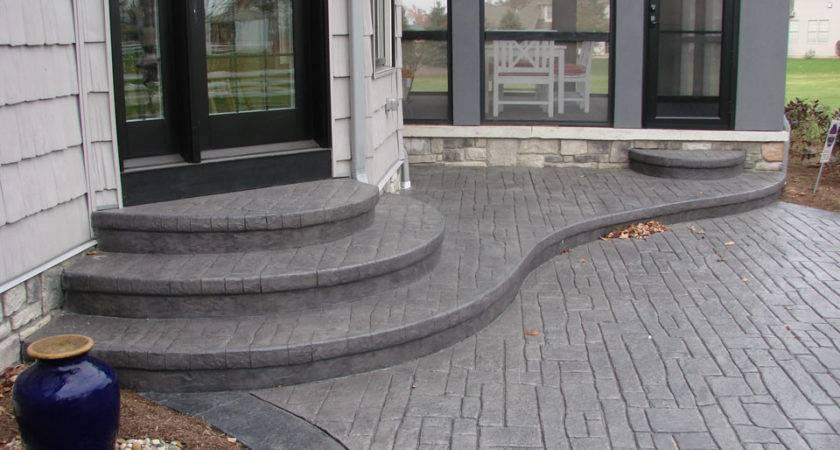 Nice Backyard Concrete Patio Steps Stamped Ohio