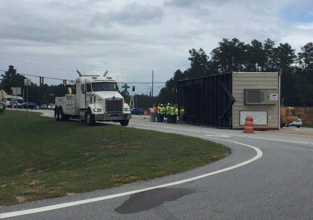 Overturned Mobile Home Blocking Traffic Gordon Hwy