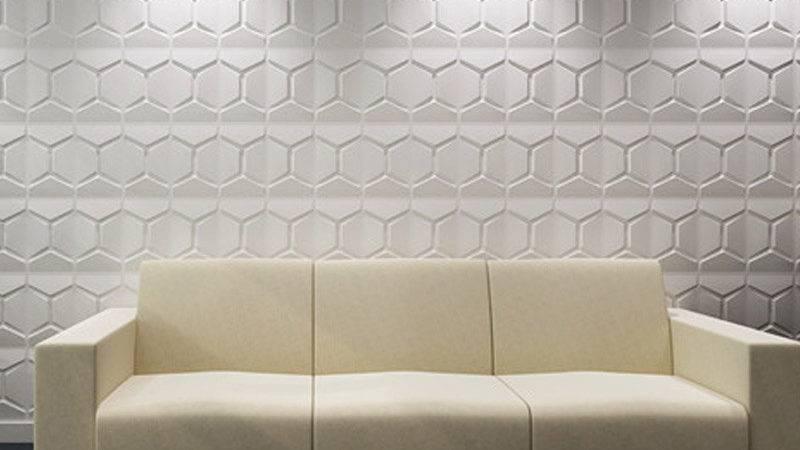 Paintable Wall Panel Plant Fiber Tile Off White Set