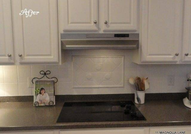 Painted Tile Backsplash Exhaust Hood Delightful Spray