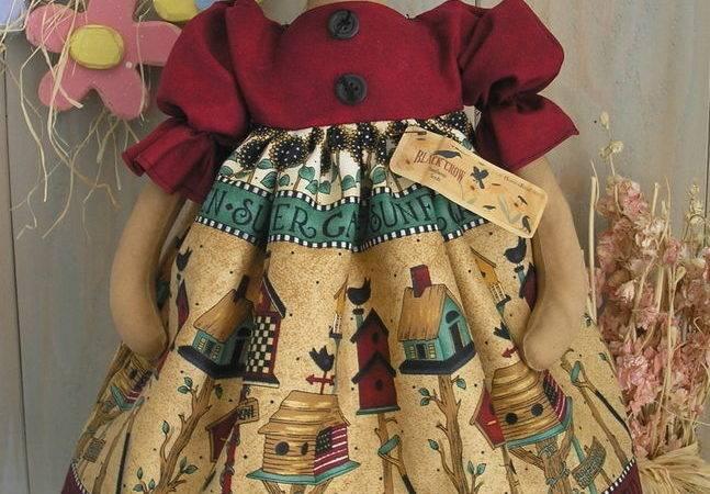 Pattern Primitive Raggedy Folk Art Kitty Cat Doll Sewing
