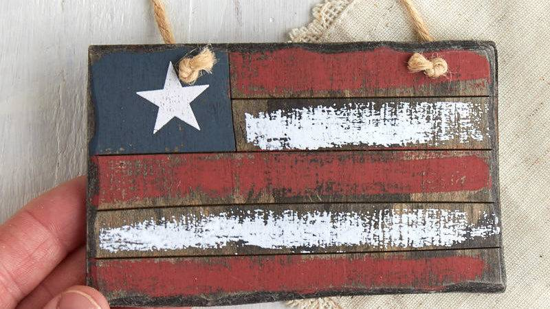 Primitive Americana Flag Ornament Decor Home