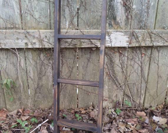 Primitive Black Distressed Ladder