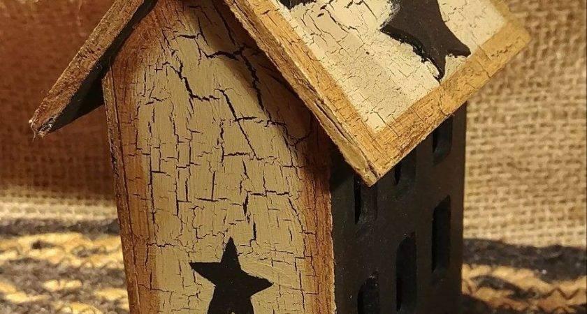 Primitive Crackle Tan Black Stars Wood Saltbox House