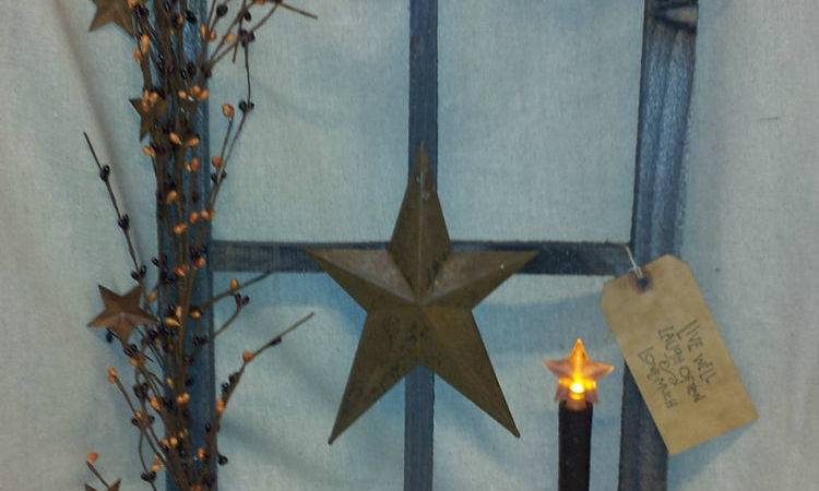Primitive Decor Stained Window Display Country