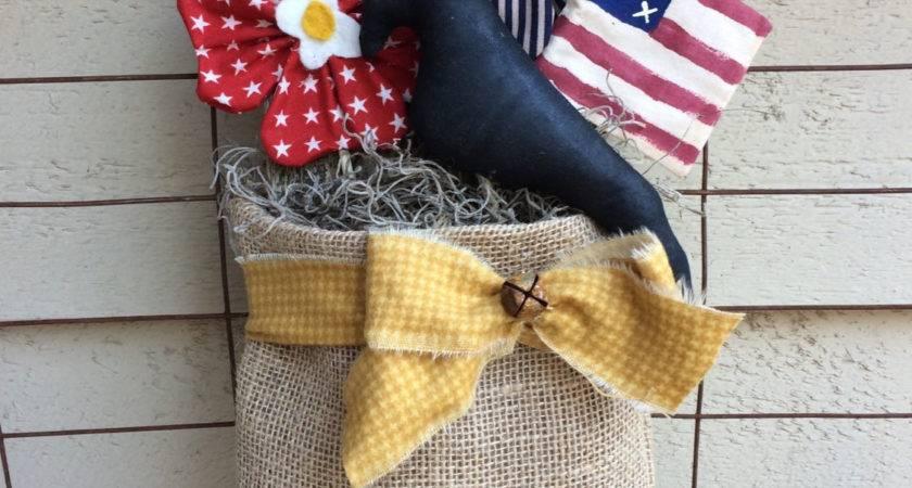 Primitive Folk Art Americana Summer Crow Wreath Patriotic