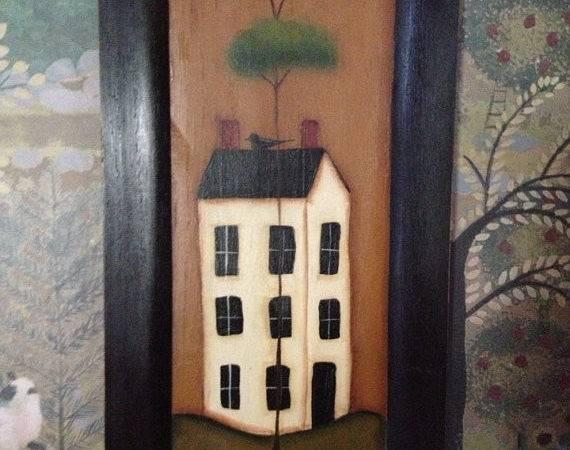 Primitive Saltbox House Plaque