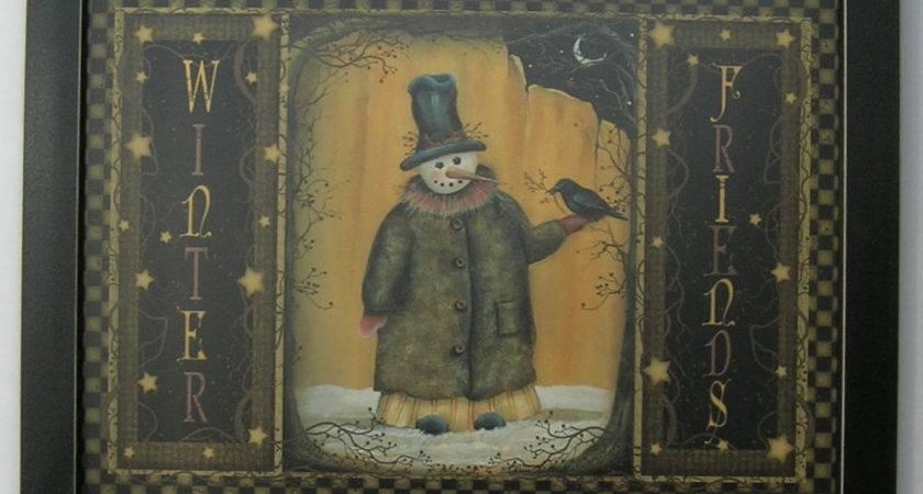 Primitive Snowmen Framed Country Print